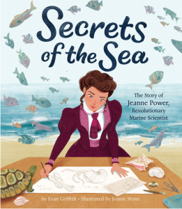 Cover of 'Secrets of the Sea,' with a woman in a purple suit and tie illustrating sea creatures on a drafting desk at the beach, surrounded by floating fish, a turtle, and various shells