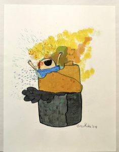 Print by Eliza Kinkz of a child playing in a large burrito