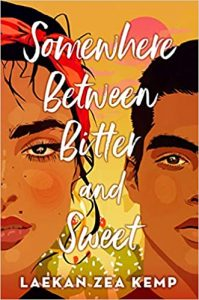 Cover of 'Somewhere Between Bitter and Sweet,' featuring half the face of a teenage girl with black hair and a red headband and half the face of a teenage boy with short black hair against a pink-and-yellow background with a sun and prickly pear cacti