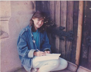 Samantha as a teen, writing stories.