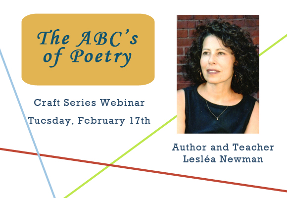 Webinar: The ABC's of Poetry: Writing in Poetic Form for Children and Young Adults with Lesléa Newman