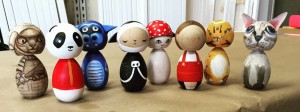 Decorated Kokeshi dolls